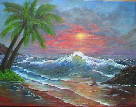 Atardecer en la playa blanca pueyo - Cuadros de atardeceres ...