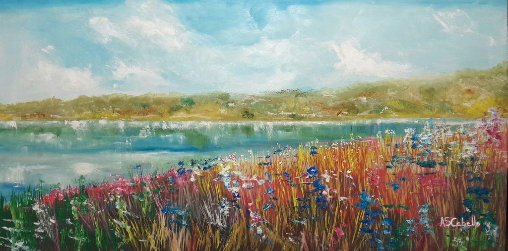 flores en la laguna