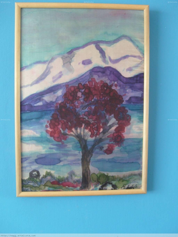 Paisaje pintado a mano en seda natural (Otoño) Otros Tela Paisaje