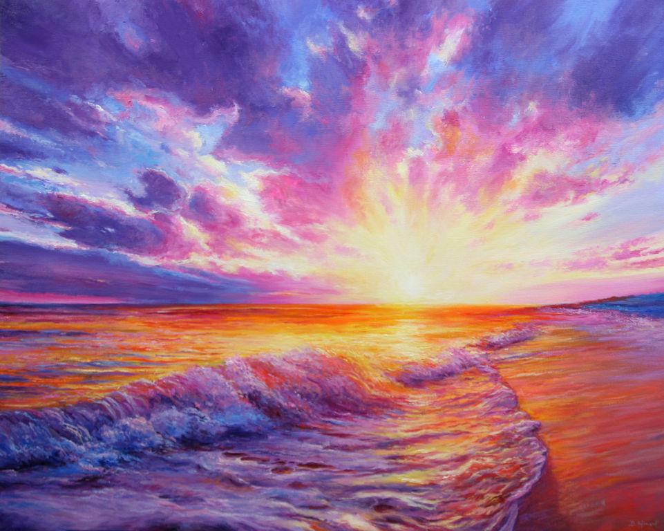 Magical Sunset Lienzo Óleo Marina