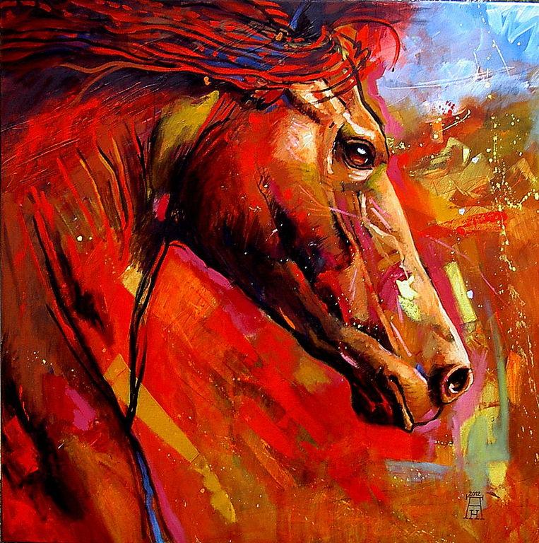 War horse americo hume for Fotos de cuadros abstractos al oleo