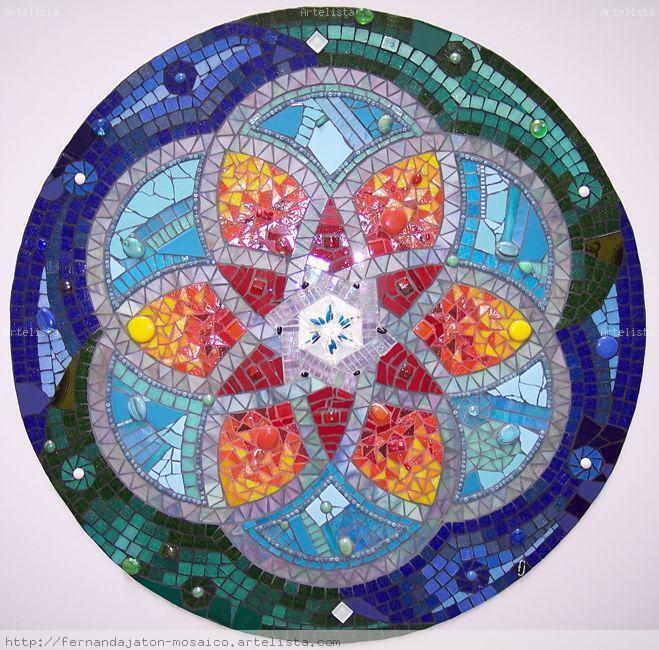 Mosaiquismo mandala en mosaico fernanda jaton - Como pintar mosaicos ...
