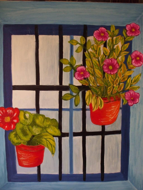 Ventana con rejas y flores teresa robles fernandez - Pintura para rejas ...