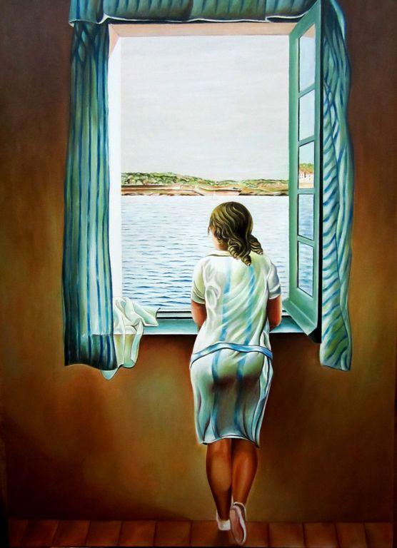 Mujer Asomada A La Ventana Ferran Vilches Rodriguez Artelista Com