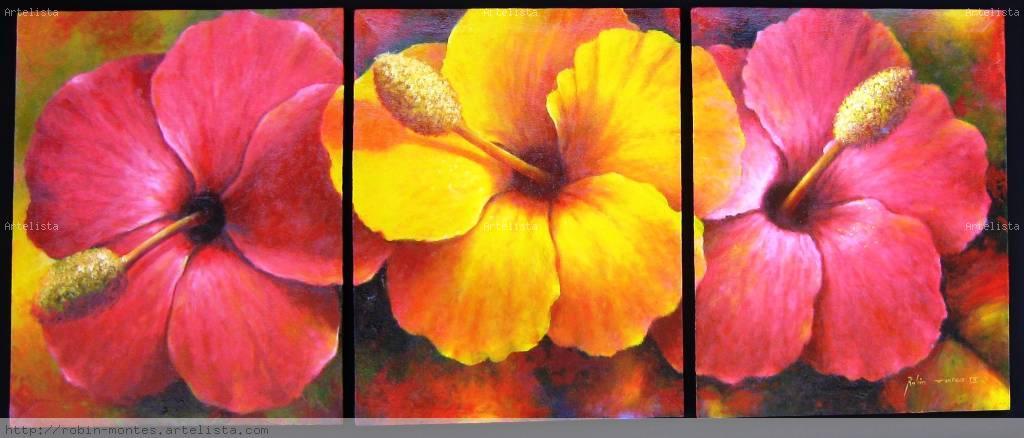 Cuadros flores oleos - Imagui