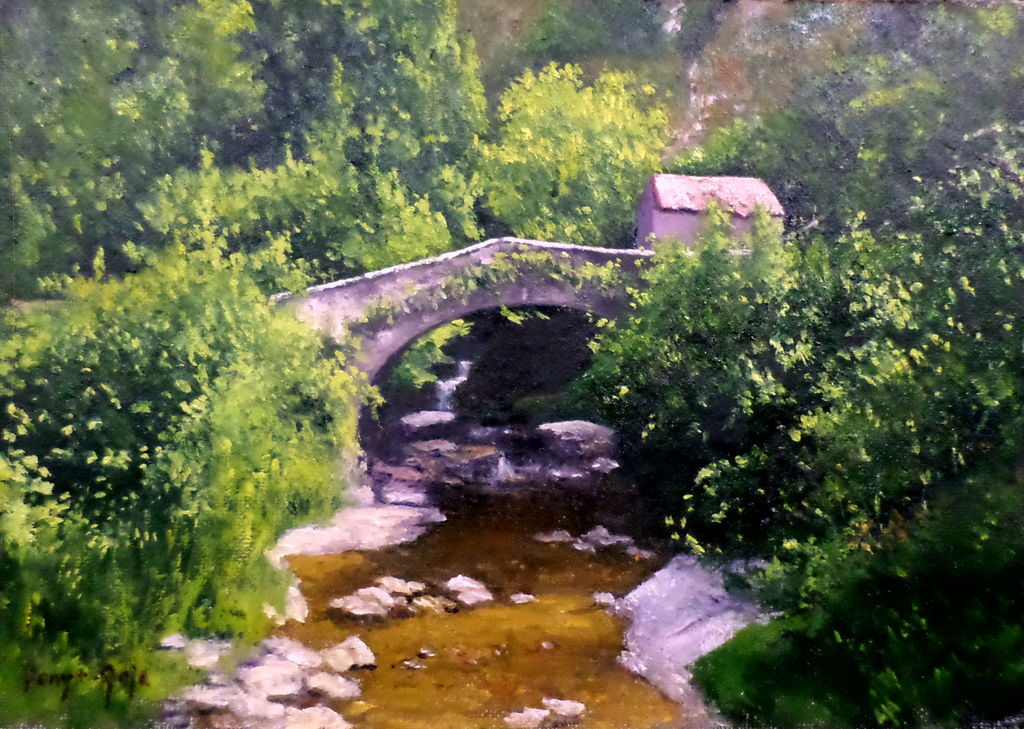 Puente y molino viejo Lienzo Óleo Paisaje