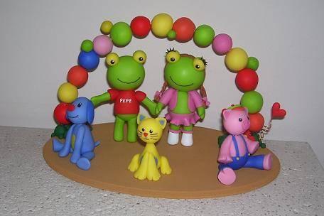 Adorno de torta Sapo Pepe y sus amigos Giselle Tescari- Artelista.