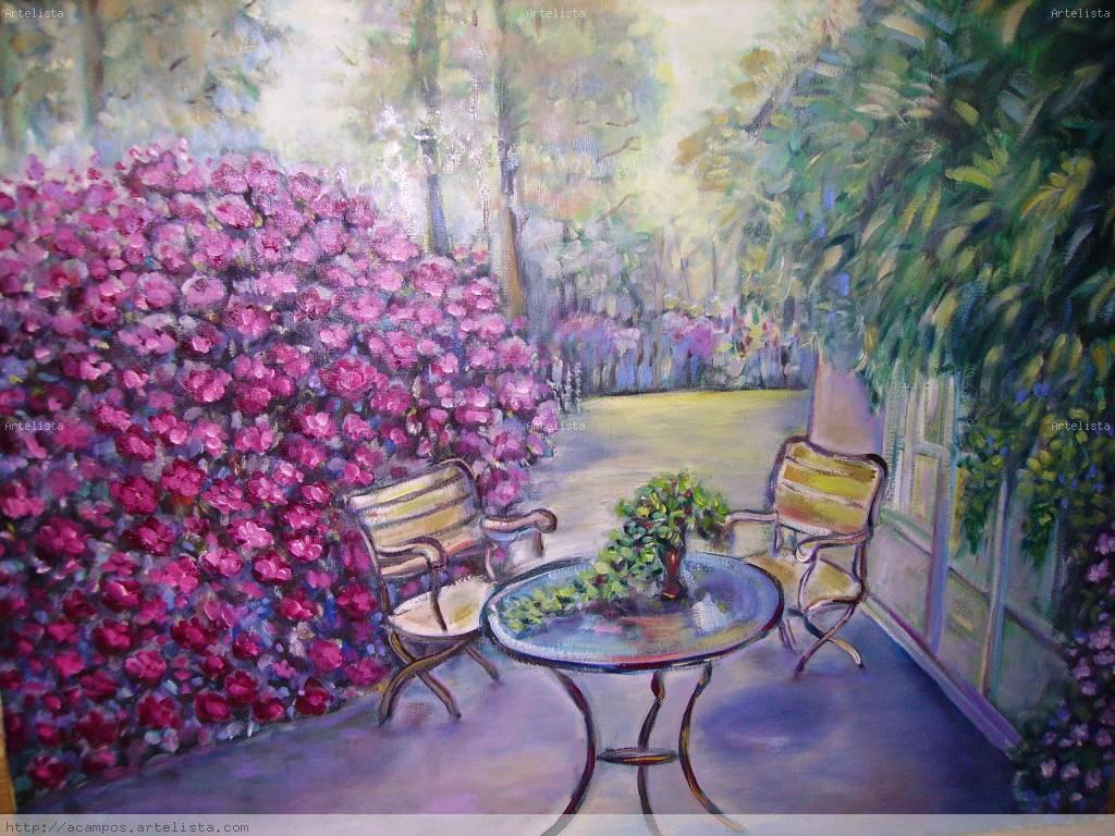 Sillas y mesa en el jard n antonia campos cano Cuadros para el jardin