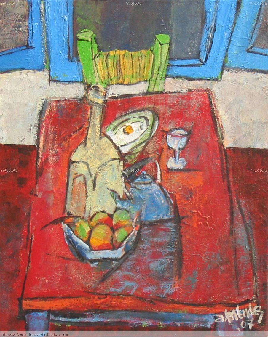 Mesa azul con silla roja y ventana verde alvaro mario for Silla roja y azul