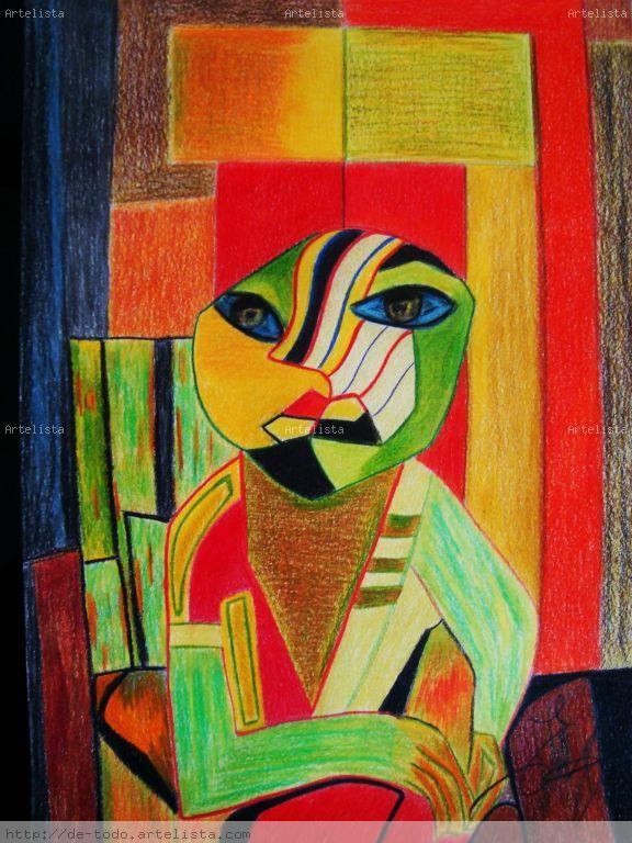 Dibujo abstracto lagarto rojo encarni caama o alvez for Imagenes de cuadros abstractos faciles