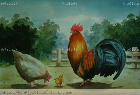 Acuarela Gallo, gallina y pollito Mario Ramirez - Artelista.com