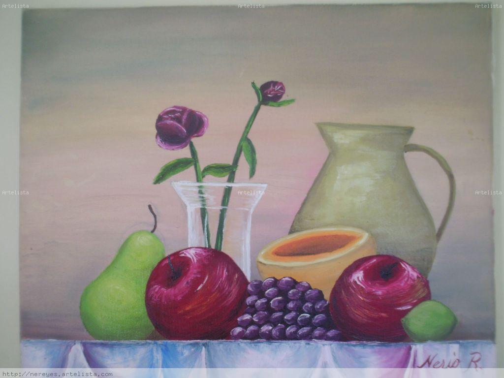 Dibujo En Linea Uva: Bodegon Fruta Y Jarron Nerio Reyes