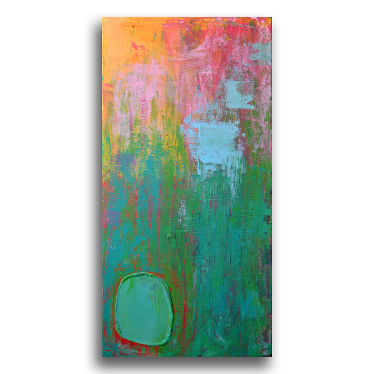 Pintura abstracta en acr lico sobre lienzo cromoterapia for Pintura verde turquesa