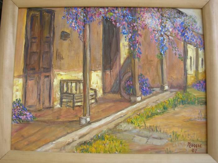 Casa de campo con flor de la pluma margarita cecilia for Pinturas para casas de campo