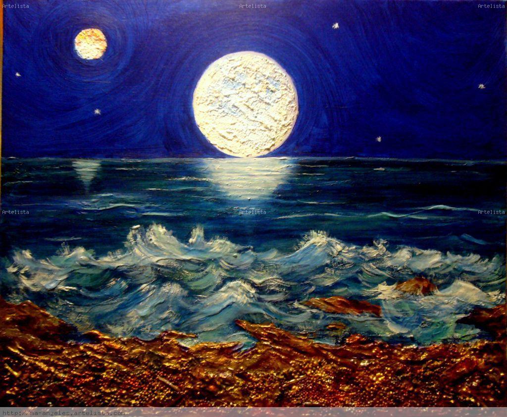 Luna llena m angeles rodr guez d az - Cuadros hechos con piedras de playa ...