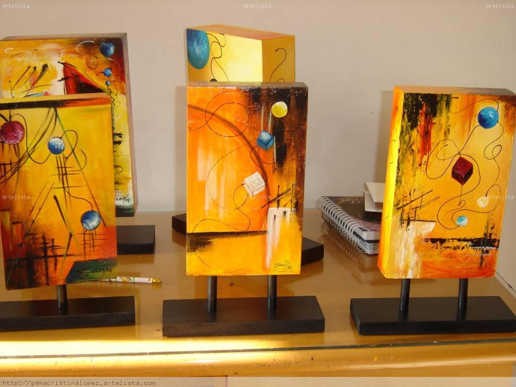 Esculturas pintadas sobre madera gema cristina lopez a - Pinturas de madera ...