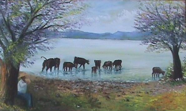 Vacas tomando agua rigoberto pantoja - Cuadros de vacas ...