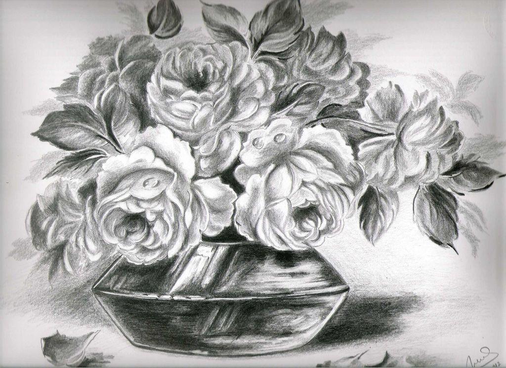 Imagenes De Rosas Para Dibujar A Lapiz En 3d