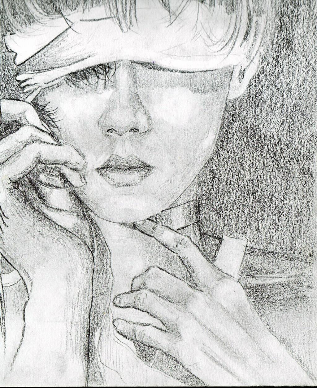 cara mujer sobre un dibujo de Marcos Rey iñigo telleria - Artelista.com