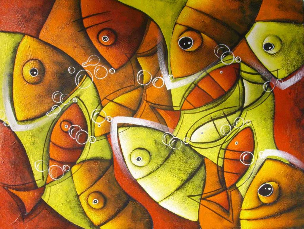 Peces colores primos patricio correa artgallery for Cuadros con peces