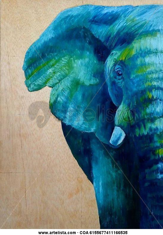Elefante Óleo Animales Tabla