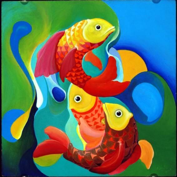 Los tres peces carlos carrillo for Cuadros de peces