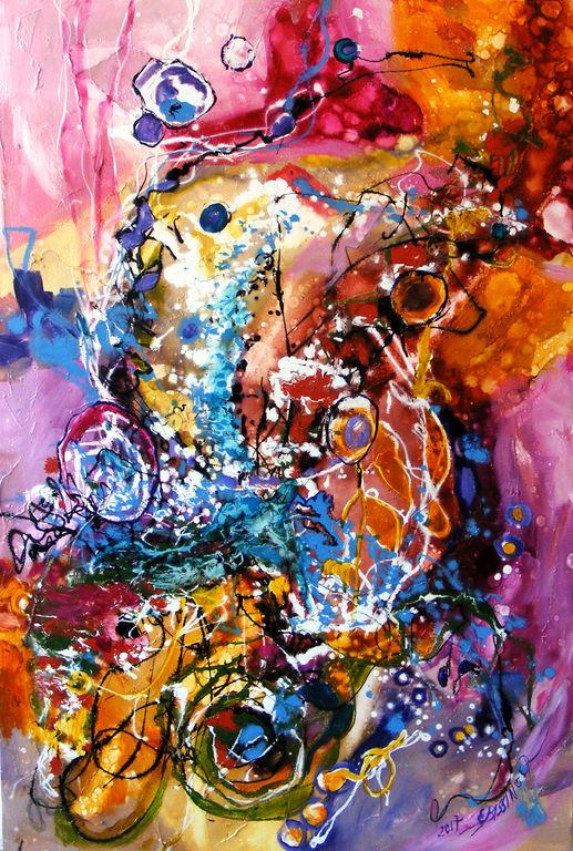 abstract, alergand dupa fluturi, original art by e.bissinger