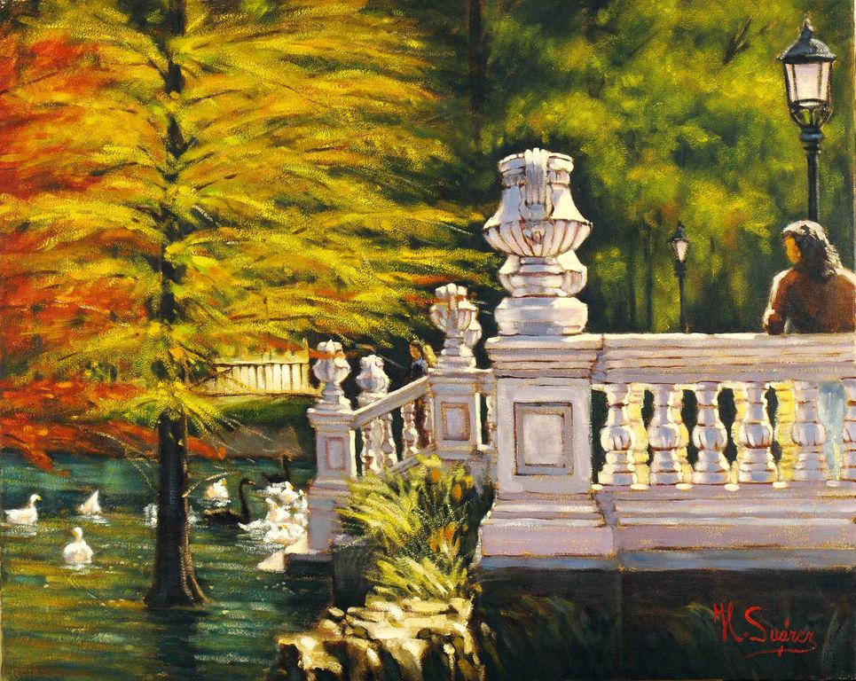 Jardin con estanque jose luis suarez for Pintura para estanques