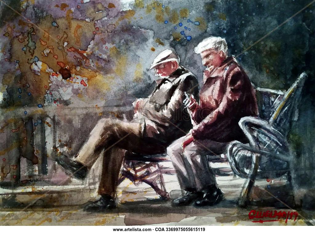 Ancianos en un banco Gregorio Luelmo Serra - Artelista.com