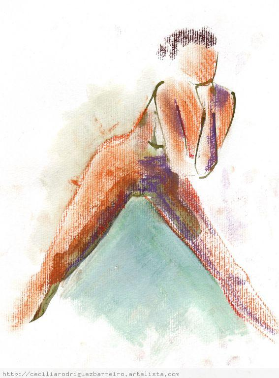 mujer de piernas abiertas Técnica Mixta