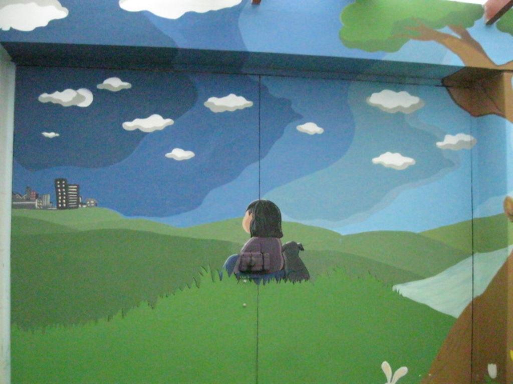 Murales infantiles ni a y su amigo murales infantiles for Murales infantiles nina