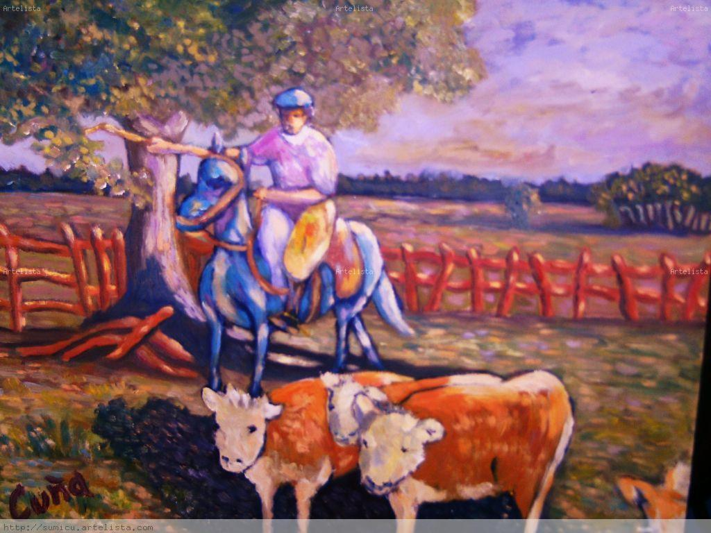 Arreando vacas susana cu a - Cuadros de vacas ...