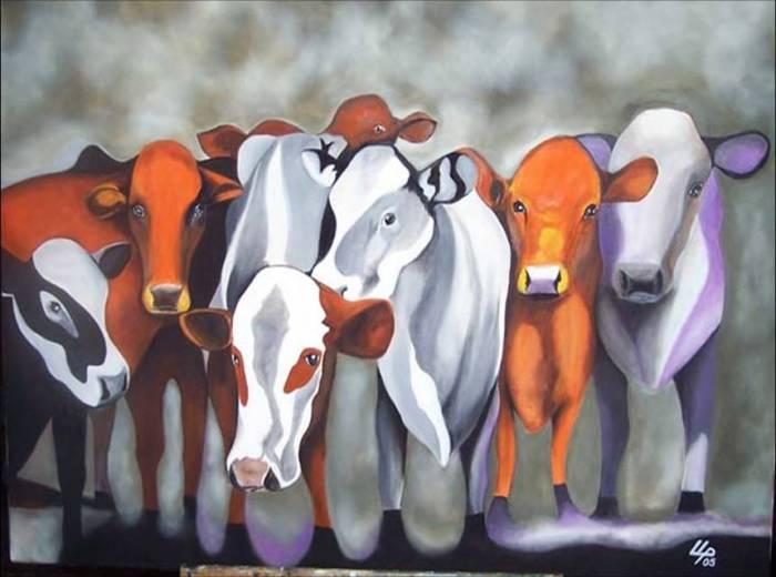 Vacas locas lucrecia lopez pe a - Cuadros de vacas ...
