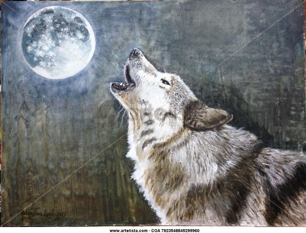 La, loba, luna,lunatico,mascotas,perros,animales,cuadros,pinturas ...