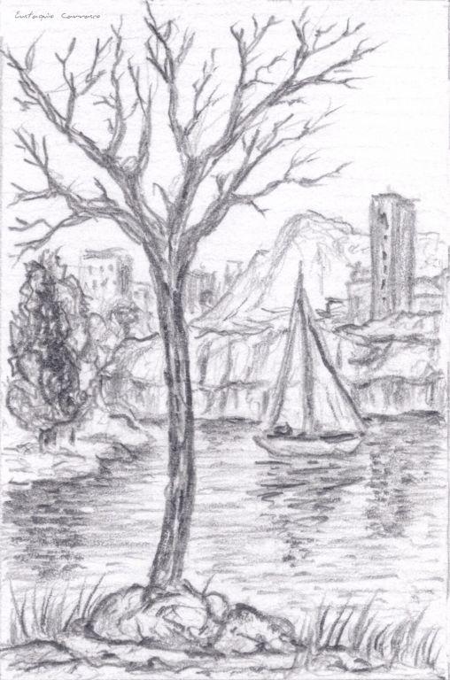 árbol Seco Lago Velero Y Ciudad Al Fondo Eustaquio Carrasco