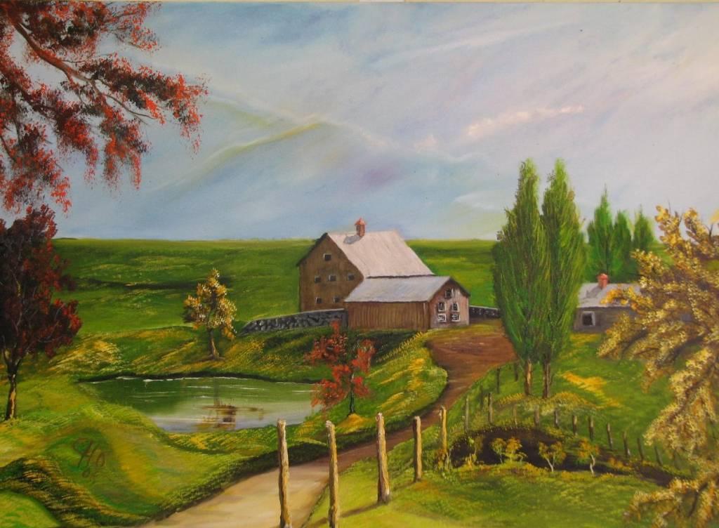Campos verdes luis roberto hern ndez alfaro artelista - Paisajes de casas de campo ...