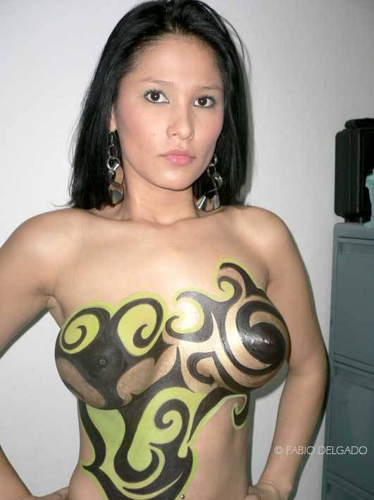 Indonesian nude girls body painting