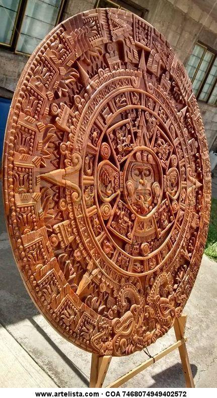 Piedra De Los Soles Calendario Azteca Tallado En Madera Francisco