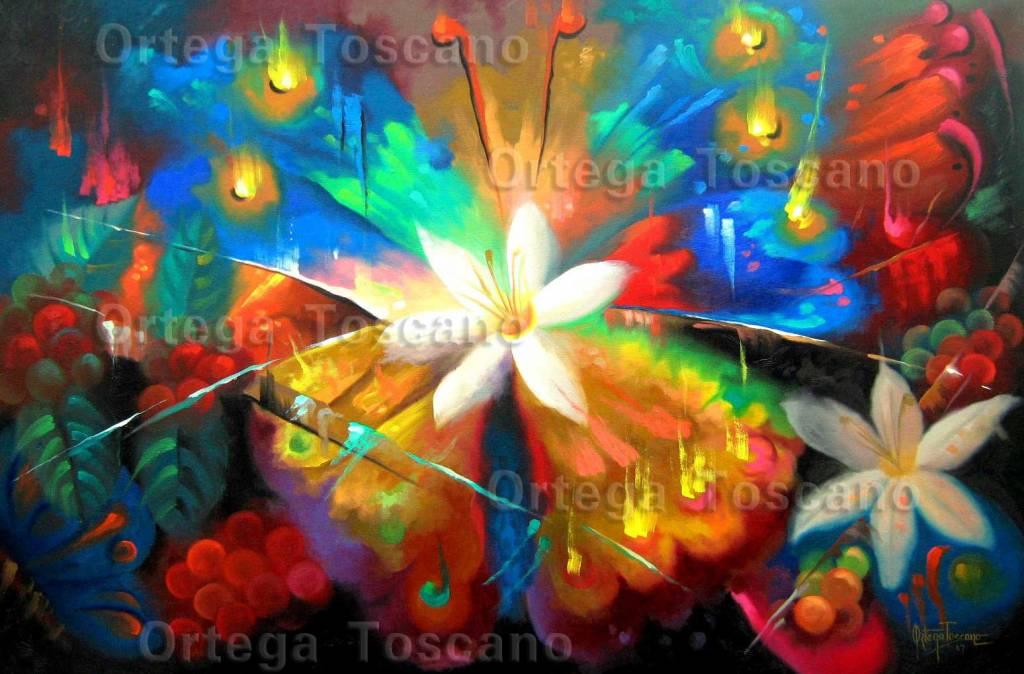 Mariposa flor de caf nelson ortega toscano - Cuadros modernos con mucho color ...