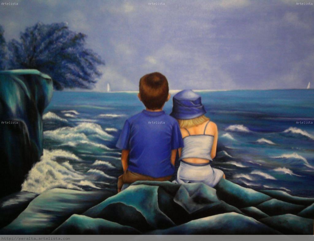 Niños mirando al mar Óleo Lienzo Paisaje