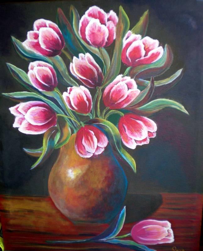 Jarron de tulipanes roswitha wittich - Fotos jarrones con flores ...