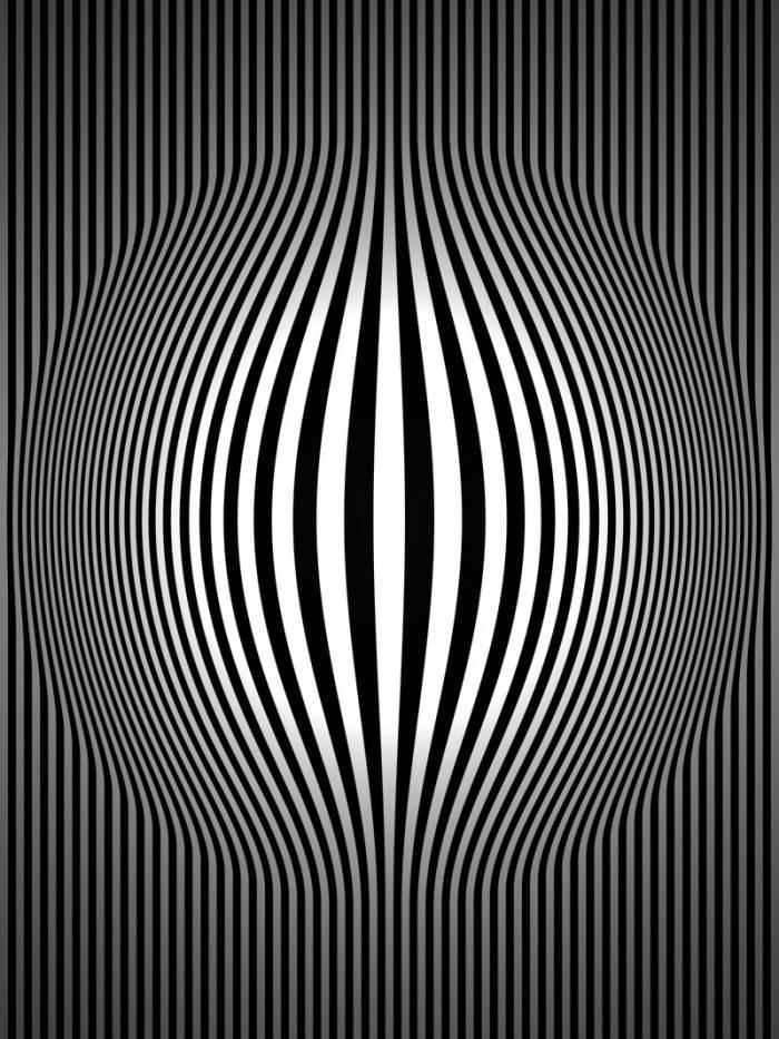 op art bulging vertical stripes black and white two cvadrat cvadrat en. Black Bedroom Furniture Sets. Home Design Ideas