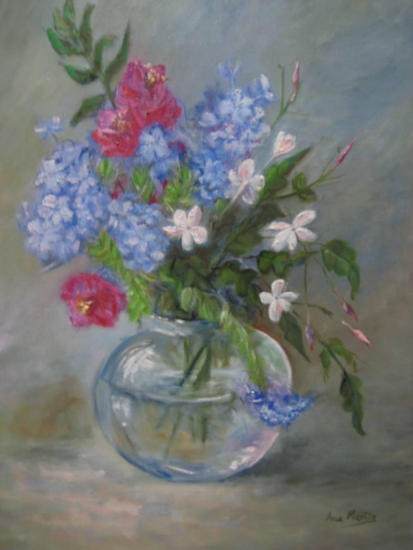 Flores con jarron cristal ana martin gutierrez - Jarrones de cristal con flores ...