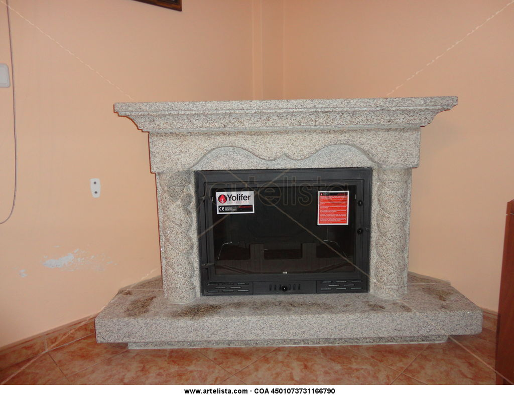 Chimenea salon rub n touri o reboredo for Chimeneas de obra
