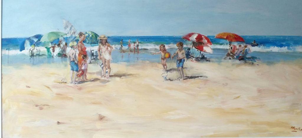 Días de playa Tabla Óleo Marina