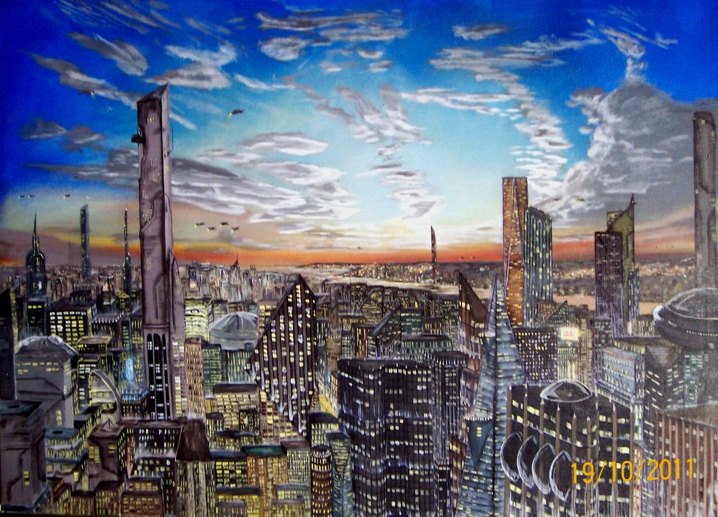 Año 2065 La Vieja Manhattan. Year 2065 Old Manhattan Canvas Acrylic  Landscaping