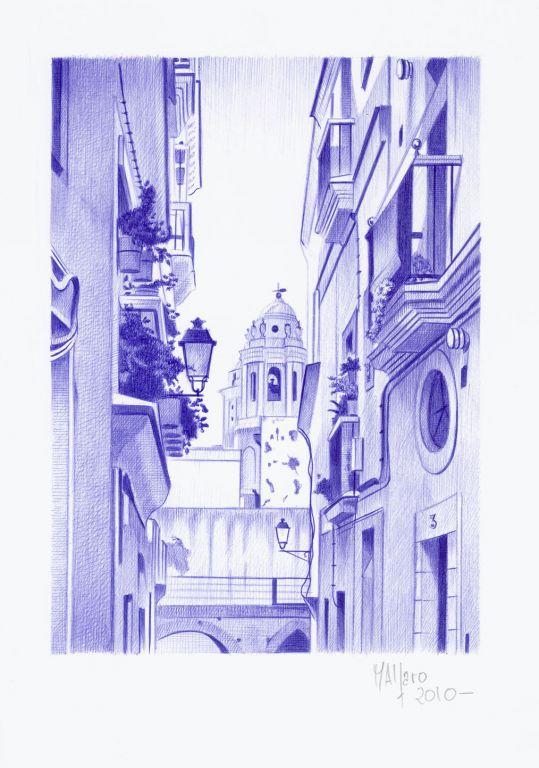 Dibujo a bolgrafo BIC Calle Santa Mara miguel angel alfaro rey