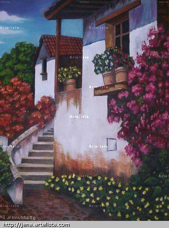 Casa bella con escalera y jardines jesus navarrete ure a - Oleos de jardines ...