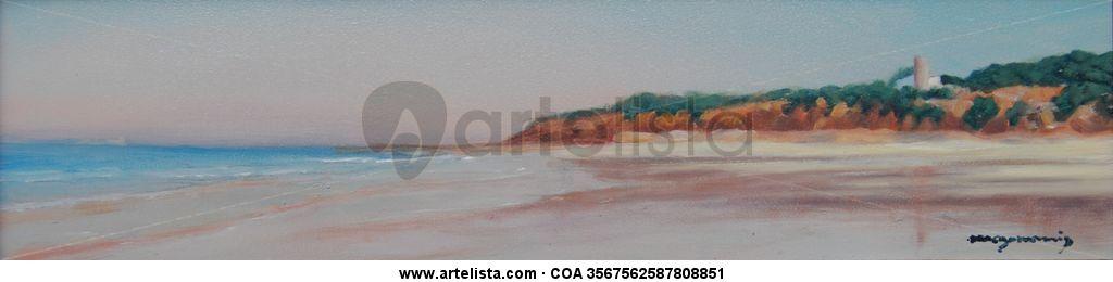 Paisaje De La Playa De La Barrosa Baldomero Ruiz Monis Maymonis Artelista Com