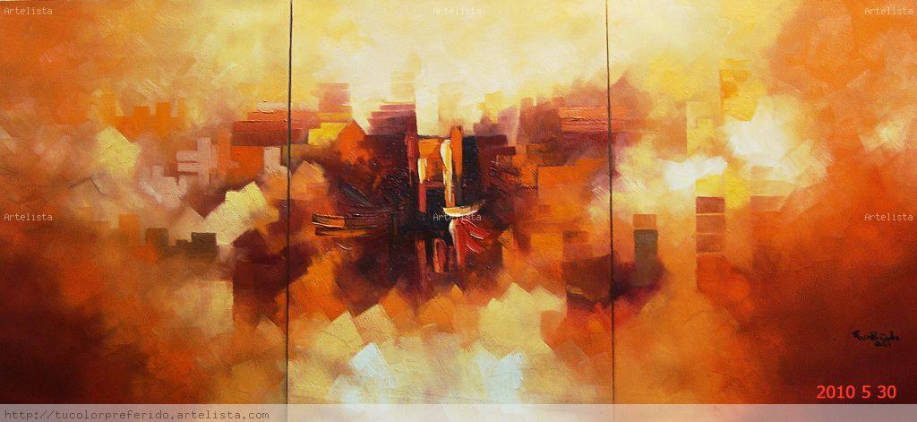 Triptico abstracto reynaldo guillermo rivera rondon for Fotos de cuadros abstractos al oleo